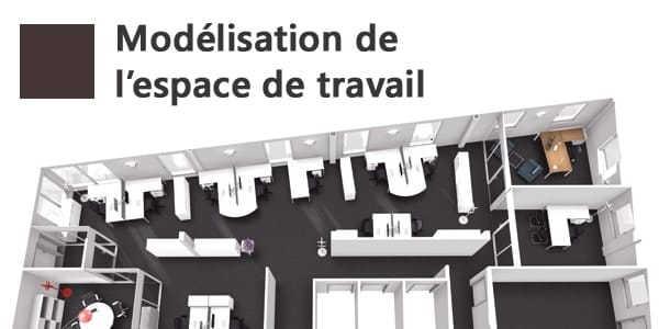 Visuel projection 3D d'un espace de travail
