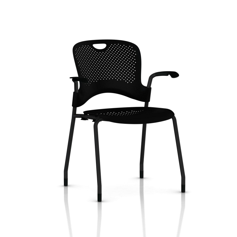chaise caper herman miller avec accoudoirs patins moquette noir assise moul e noir. Black Bedroom Furniture Sets. Home Design Ideas