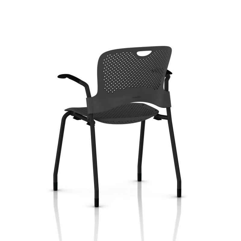 chaise caper herman miller avec accoudoirs patins moquette noir assise moul e graphite. Black Bedroom Furniture Sets. Home Design Ideas