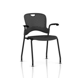 Chaise Caper Herman Miller Avec Accoudoirs - Patins Sol Dur / Noir / Assise Moulée Graphite