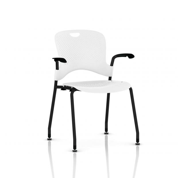 Chaise Caper Herman Miller Avec Accoudoirs - Patins Sol Dur / Noir / Assise Moulée Studio White