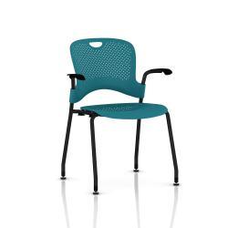 Chaise Caper Herman Miller Avec Accoudoirs - Patins Sol Dur / Noir / Assise Moulée Turquoise