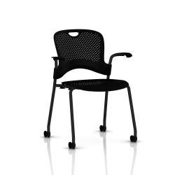 Chaise Caper Herman Miller Avec Accoudoirs - Roulettes Moquette / Noir / Assise Moulée Noir