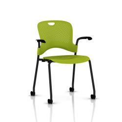 Chaise Caper Herman Miller Avec Accoudoirs - Roulettes Sol Dur / Noir / Assise Moulée Green Apple