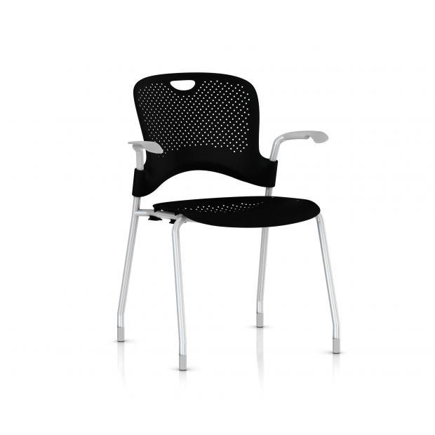 Chaise Caper Herman Miller Avec Accoudoirs - Patins Moquette / Metallic Silver / Assise Moulée Noir