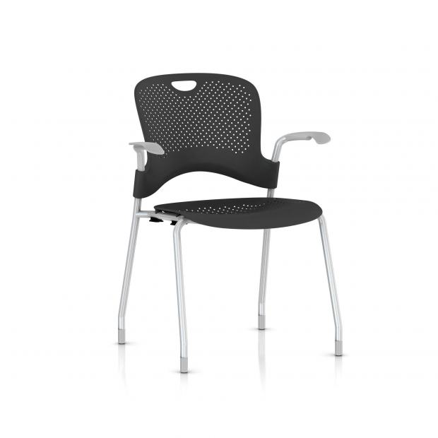 Chaise Caper Herman Miller Avec Accoudoirs - Patins Moquette / Metallic Silver / Assise Moulée Graphite