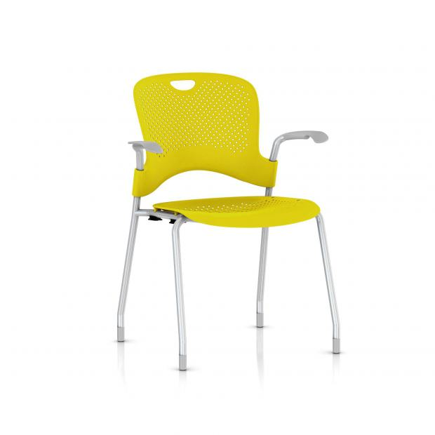 Chaise Caper Herman Miller Avec Accoudoirs - Patins Moquette / Metallic Silver / Assise Moulée Lemon