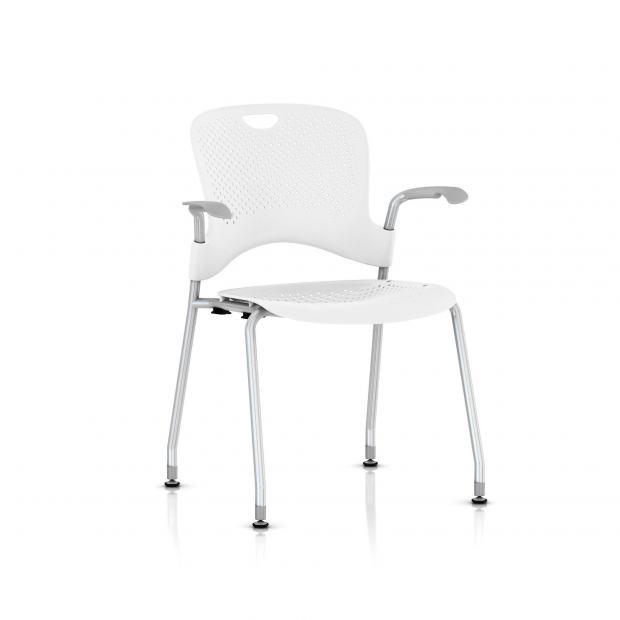 Chaise Caper Herman Miller Avec Accoudoirs - Patins Sol Dur / Metallic Silver / Assise Moulée Studio White