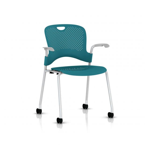 Chaise Caper Herman Miller Avec Accoudoirs - Roulettes Sol Dur / Metallic Silver / Assise Moulée Turquoise