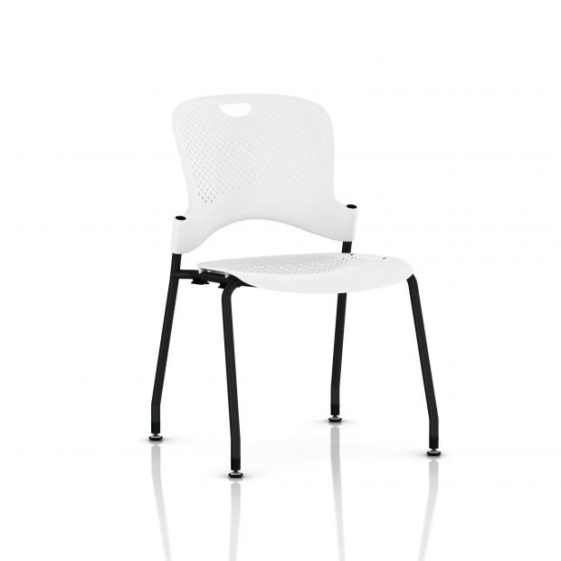 Chaise Caper Herman Miller Sans Accoudoir - Patins Sol Dur / Noir / Assise Moulée Studio White