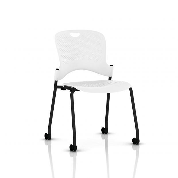 Chaise Caper Herman Miller Sans Accoudoir - Roulettes Moquette / Noir / Assise Moulée Studio White