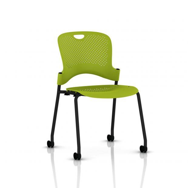 Chaise Caper Herman Miller Sans Accoudoir - Roulettes Sol Dur / Noir / Assise Moulée Green Apple