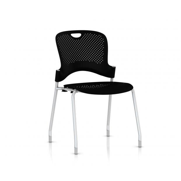 Chaise Caper Herman Miller Sans Accoudoir - Patins Moquette / Metallic Silver / Assise Moulée Noir