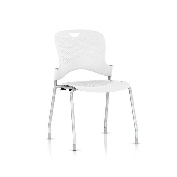 Chaise Caper Herman Miller Sans Accoudoir - Patins Moquette / Metallic Silver / Assise Moulée Studio White