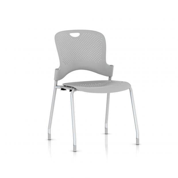 Chaise Caper Herman Miller Sans Accoudoir - Patins Moquette / Metallic Silver / Assise Moulée Fog