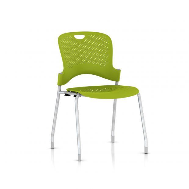 Chaise Caper Herman Miller Sans Accoudoir - Patins Moquette / Metallic Silver / Assise Moulée Green Apple