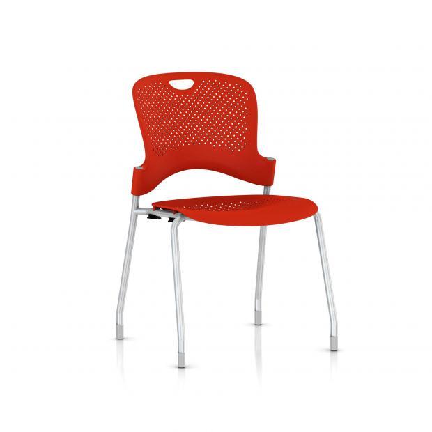 Chaise Caper Herman Miller Sans Accoudoir - Patins Moquette / Metallic Silver / Assise Moulée Rouge