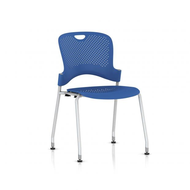 Chaise Caper Herman Miller Sans Accoudoir - Patins Sol Dur / Metallic Silver / Assise Moulée Berry Blue