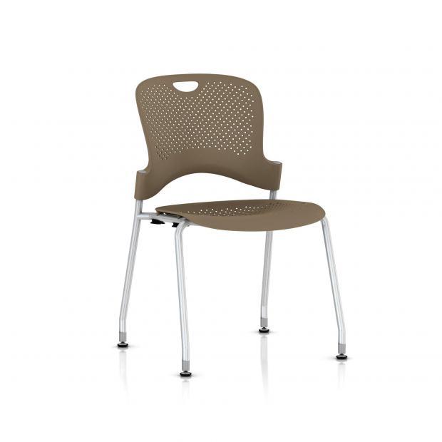 Chaise Caper Herman Miller Sans Accoudoir - Patins Sol Dur / Metallic Silver / Assise Moulée Cappuccino
