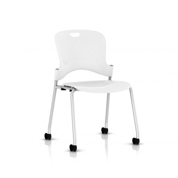 Chaise Caper Herman Miller Sans Accoudoir - Roulettes Moquette / Metallic Silver / Assise Moulée Studio White