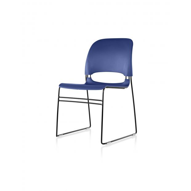 Chaise Limerick Herman Miller - Avec Patins / Noir / Assise-Dossier Medium Blue