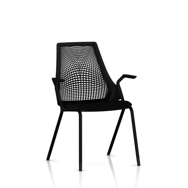 Sayl Side Chair Herman Miller Noir / 4 Pieds - Patins / Dossier Suspension Noir / Assise Tissu Havana