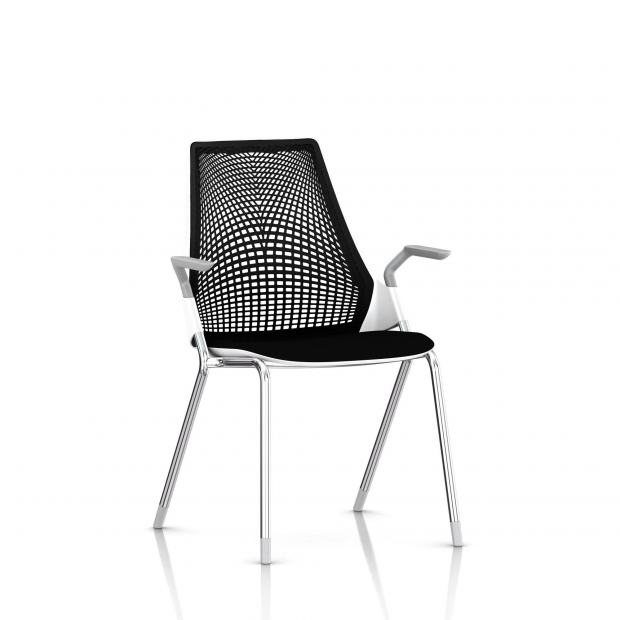Sayl Side Chair Herman Miller Chrome / 4 Pieds - Patins / Dossier Suspension Noir / Assise Tissu Havana