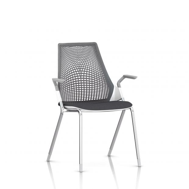 Sayl Side Chair Herman Miller Chrome / 4 Pieds - Patins / Dossier Suspension Slate Grey / Assise Tissu Krabi