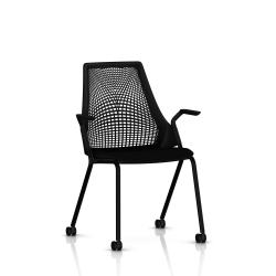 Sayl Side Chair Herman Miller Noir / 4 Pieds - Roulettes / Dossier Suspension Noir / Assise Tissu Havana