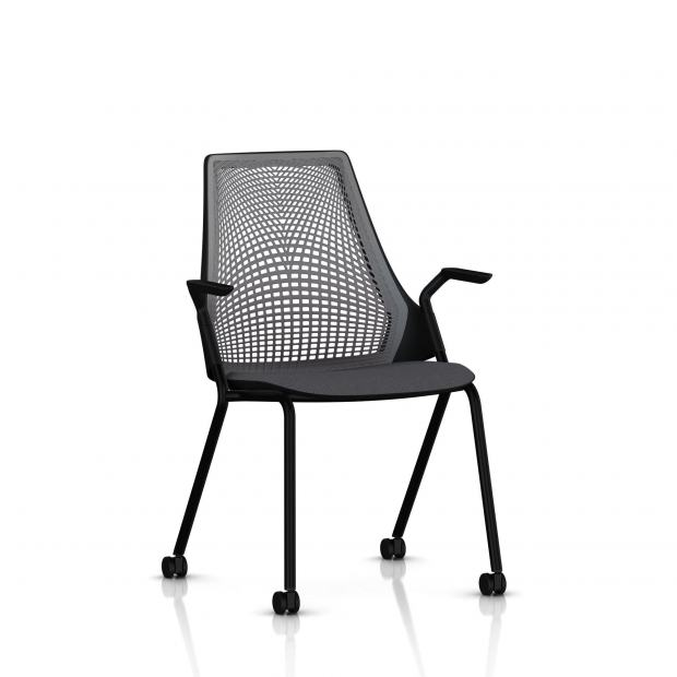Sayl Side Chair Herman Miller Noir / 4 Pieds - Roulettes / Dossier Suspension Slate Grey / Assise Tissu Krabi