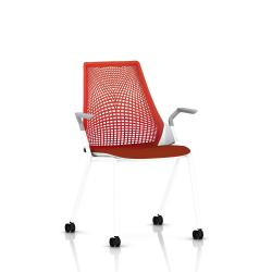 Sayl Side Chair Herman Miller Studio White / 4 Pieds - Roulettes / Dossier Suspension Red / Assise Tissu Panama