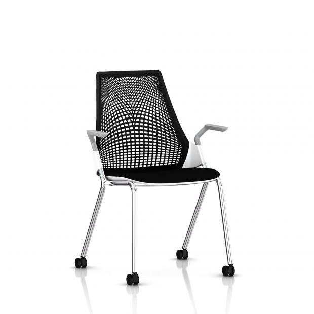 Sayl Side Chair Herman Miller Chrome / 4 Pieds - Roulettes / Dossier Suspension Noir / Assise Tissu Havana