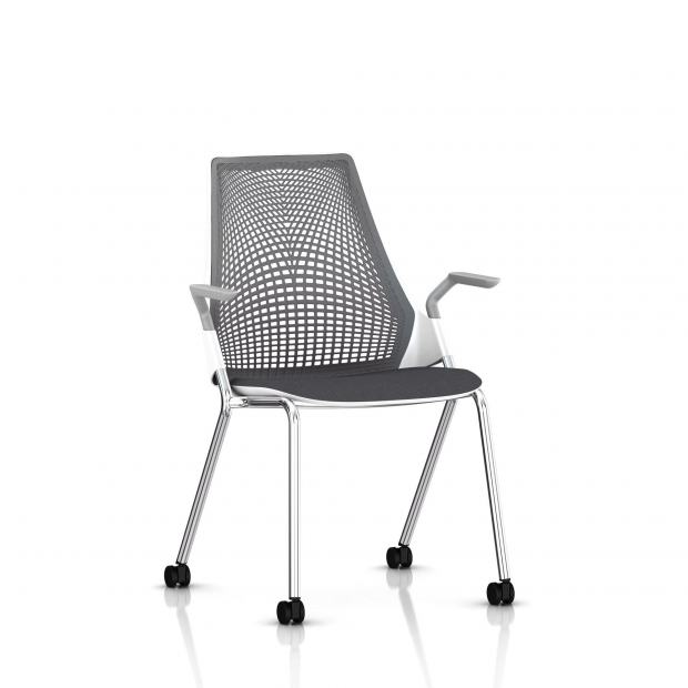 Sayl Side Chair Herman Miller Chrome / 4 Pieds - Roulettes / Dossier Suspension Slate Grey / Assise Tissu Krabi