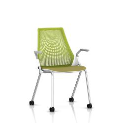 Sayl Side Chair Herman Miller Chrome / 4 Pieds - Roulettes / Dossier Suspension Green Apple / Assise Tissu Appledore