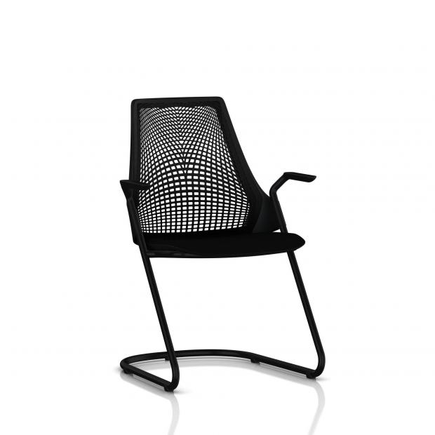 Sayl Side Chair Herman Miller Noir / Dossier Suspension Noir / Assise Tissu Havana