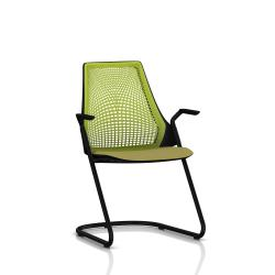 Sayl Side Chair Herman Miller Noir / Dossier Suspension Green Apple / Assise Tissu Appledore