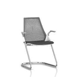 Sayl Side Chair Herman Miller Chrome / Dossier Suspension Slate Grey / Assise Tissu Krabi
