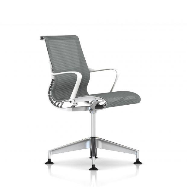 Fauteuil Setu Herman Milleralu Semi Poli / Structure Studio White / Lyris Alpine