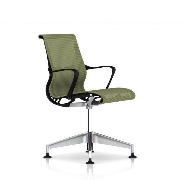 Fauteuil Setu Herman Miller Alu Semi Poli / Structure Graphite / Lyris Chartreuse