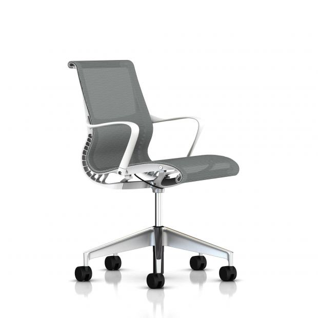 Fauteuil Setu Herman Milleralu Semi Poli / Structure Studio White / Lyris Alpine