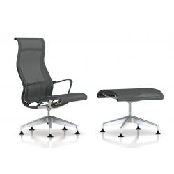 Fauteuil Setu Lounge + Ottoman Herman Miller H-Alloy / Structure Slate Grey / Lyris Slate Grey