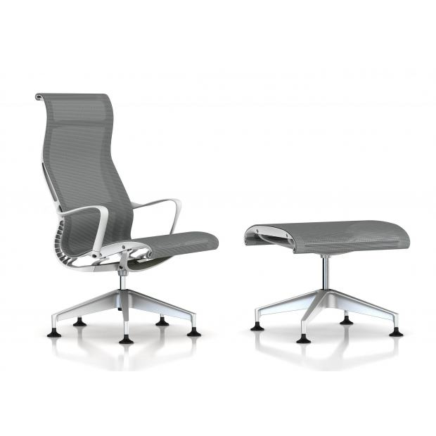 Fauteuil Setu Lounge + Ottoman Herman Miller H-Alloy / Structure Studio White / Lyris Alpine