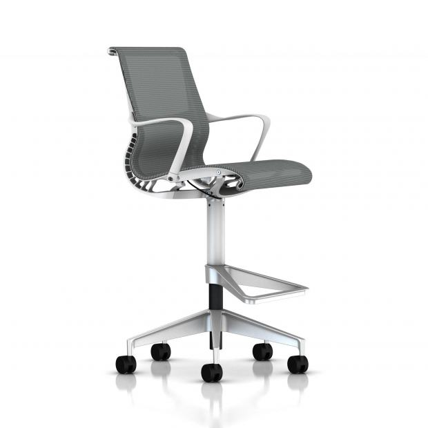 Fauteuil Setu Stool Herman Miller H-Alloy / Structure Studio White / Lyris Alpine