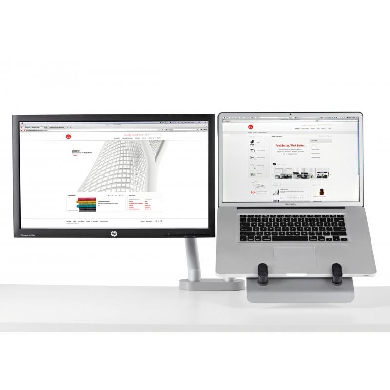 support pour ordinateur portable et pour cran avec 2 bras flo et fixation double 0 63mm. Black Bedroom Furniture Sets. Home Design Ideas