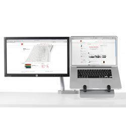 Support pour ordinateur portable et pour écran avec 2 bras flo et fixation double 0-63mm - blanc