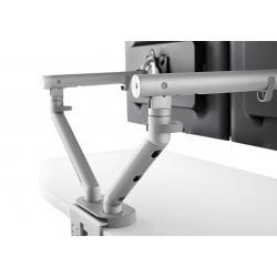 Double porte écrans FLO - supporte deux écrans de 3 à 9 kg - Fixation double 0-63mm - silver