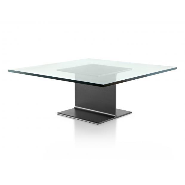Table basse I-Beam avec verre - 101 cm