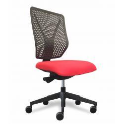 Why siège de bureau dossier polymere noir / assise tissu rouge