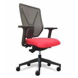 Why fauteuil de bureau dossier polymere noir / assise tissu rouge avec accoudoirs
