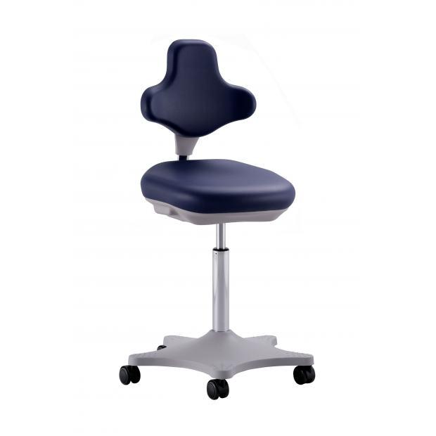 9103 - siège LABSTER 2 Bimos vérin moyen sur roulettes - skaï bleu